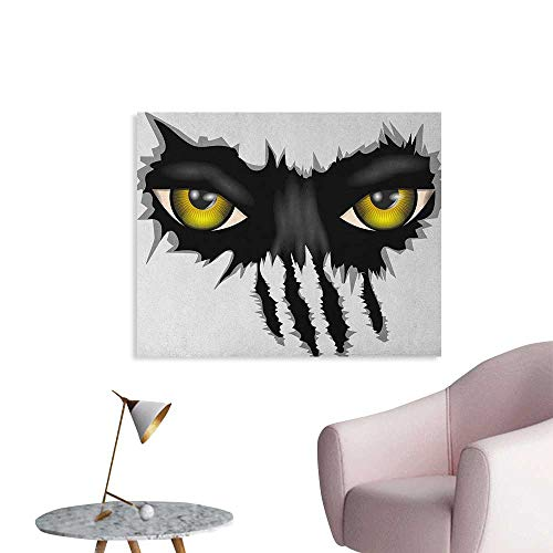 Anzhutwelve Eye Wall Picture Decoration Evil Eyes of Wild Black Cat Staring Face Werewolf Animal Monster Scratch Danger Poster Paper Yellow Black Grey W36 xL32