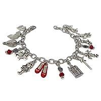 Wizard of Oz Charm Bracelet - Fairytale Jewelry - Dorothy Bracelet with Ruby Slippers