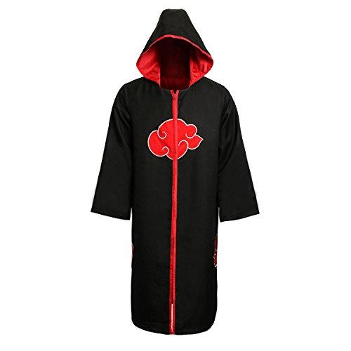 Partyever Unisex Akatsuki Organization Members Cosplay Cloak Halloween Cosplay Costume Uniform Ninja Robe with Headband (XX-Large, Hoodie -