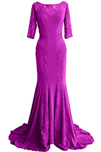 MACloth Women Mermaid Half Sleeve Lace Mother of Bride Dress Formal Evening Gown Fuchsia