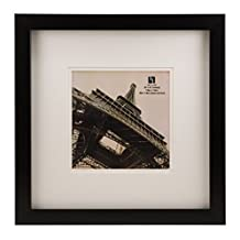BorderTrends Nova 14x14/8x8-Inch Square Wall Frame, Black with White Mat