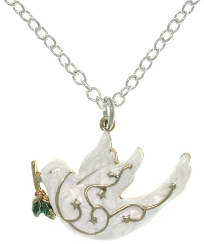 White Dove Necklace - Jewelry Trends Pewter White Enamel Peace Dove Charm with 18 Inch Chain Necklace