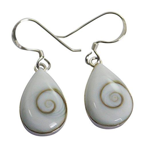 Drop of Water Thai Shiva Eye Earring Sterling Silver