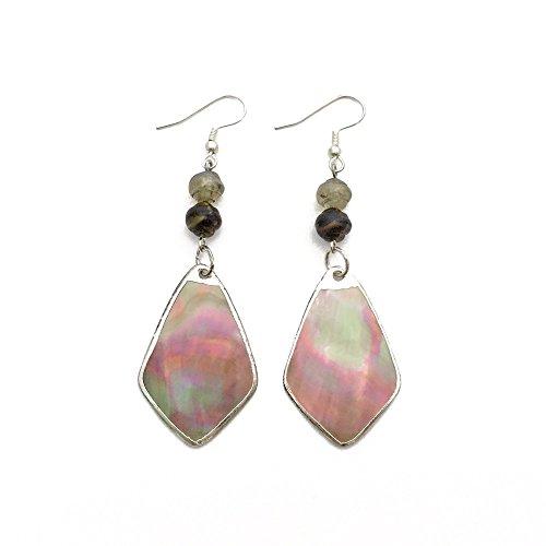 - Pink Shell Drop Earrings   Handmade Diamond Shape Dangle Statement Jewelry for Women