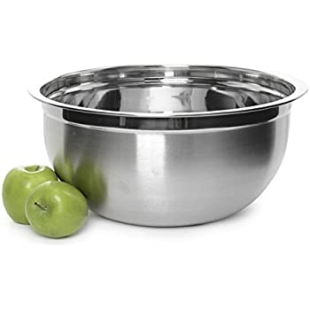 Stainless Steel Mixing Bowl - Premium Polished Mirror Nesting Metal Bowl for Cooking and Serving, Stackable for Convenient Storage (1, 14.5 Quart)