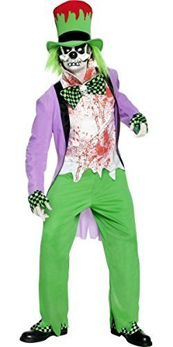 Mens Twisted Mad Hatter Evil Demonic Fairy Tale Alice Malice in Wonderland Halloween Fancy Dress Costume Outfit (Large) Green -