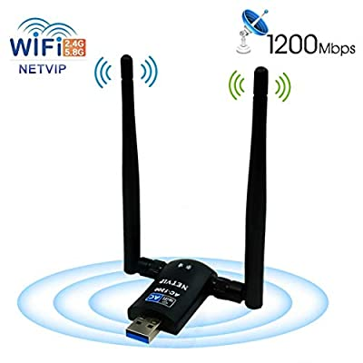 USB WiFi Adapter AC1200 Dual Band 5.8G 867Mbps/2.4G 300Mbps High Gain Dual 6dBi Antenna,Wireless Network USB 3.0 for Desktop/Laptop/PC,Complies with Windows 2000/XP/Vista/7/8/10/Ubuntu Linux,Mac OS X