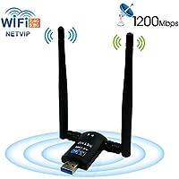 USB WiFi Adapter AC1200 Dual Band 5.8G 867Mbps/2.4G 300Mbps High Gain Dual 6dBi Antenna,Wireless Network USB 3.0 for Desktop/Laptop/PC,Complies with Windows 2000/XP/Vista/7/8/10/Ubuntu Linux,Mac OS X