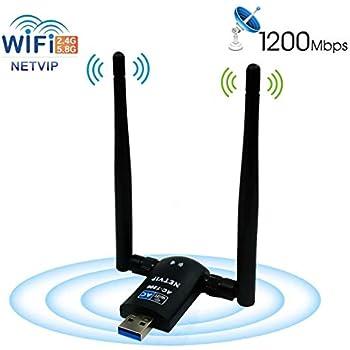 Netvip USB WiFi Adapter AC1200 Dual Band 5.8G 867Mbps/2.4G 300Mbps High Gain