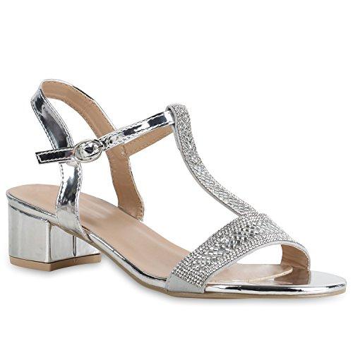 Stiefelparadies Damen Sandaletten Riemchensandaletten Lack Strass Party Schuhe Flandell Silber