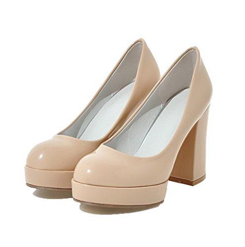 À Tire Femme Talon Chaussures Abricot Rond Légeres Couleur Haut Unie Verni Agoolar 4wBqUZA4