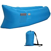 Air Sofa Outdoor Inflatable Lounger Hangout Compression Sleeping Bags Nylon Fabric With Carry Bags With Side Pocket
