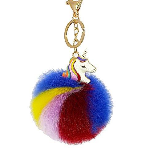 Cute Rainbow Pom Unicorn Keychain for Girls Kids Gold Metal Faux Fur Ball - Cute Rainbow