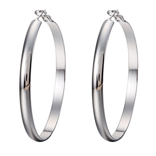 M-Egal Womens Stainless Steel Big Circle Large Round Hoop Dangle Earrings Studs white 60mm