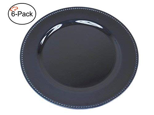 Tiger Chef 13-inch Navy Blue Round Beaded Charger Plates, Set of 2,4,6, 12 or 24 Dinner Chargers (6-Pack)