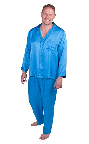 TexereSilk Men's Silk Pajama Sleepwear Set (Swedish Blue, X-Large) Comfortable Father's Day Gift Ideas for Boyfriend Nephew Father MS0002-SWB-XL (Mens Texeresilk Robe)