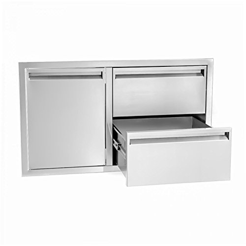 BBQGuys Aspen Series 36-Inch Stainless Steel Left-Hinged Access Door & Double Drawer ()