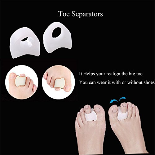 Bunion Corrector Pads Kit Bunion Protector Toe Spreader Bunion Relief Socks Sleeves Toe Stretcher & Separator,Foot Massage Ball for Tailors Bunion,Hallux Valgus,Overlapping Toes,Big Toe Joint by Carikaien (Image #5)