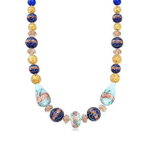 Ross-Simons Italian Multicolored Murano Glass Floral Bead Necklace in 18kt Yellow Gold Over Sterling ()