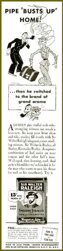 PIPE BUSTS UP HOME - 1937 SIR WALTER RALEIGH TOBACCO AD Original Paper Ephemera Authentic Vintage Print Magazine Ad / Article