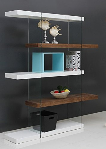 Glass Walnut Bookcase (Casabianca Furniture CB-111-WHWAL-BKS IL Vetro Bookcase by Casabianca Home, High Gloss White/ Walnut Veneer)