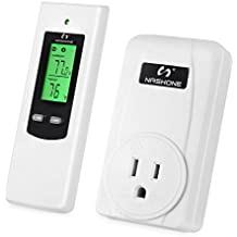 Nashone Wireless Temperature Controller,Electric Thermostat with Remote Control Built in Temp Sensor 3 Prong Plug LCD Display Heating Cooling Mode(wirelss thermostat)