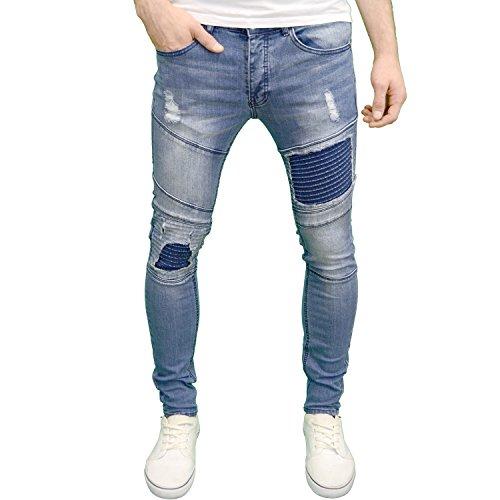 Eto Mens Designer Branded Ripped Paneled Skinny Fit Jeans (28W x 30L, Midstonewash)