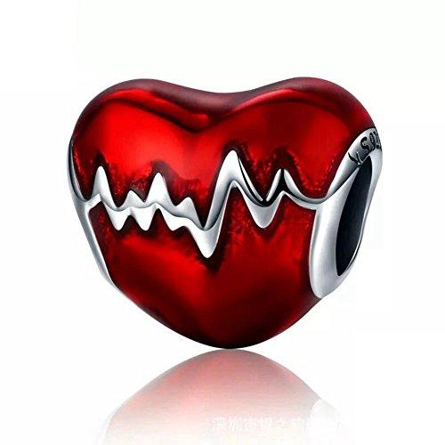 Enamel Sterling Silver Heart Beads - 925 Sterling Silver Heartbeat Charm Bead Red Enamel Love Heart Charm Love Valentine's Day Gift