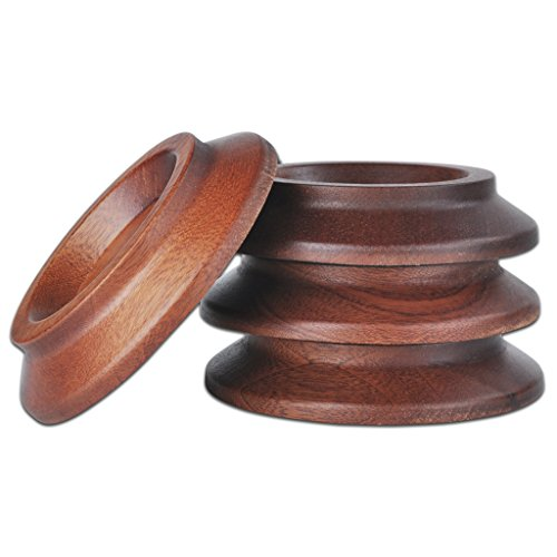 Jili Online Solid Wood Piano Caster Furniture Round Wheel Cups for Upright Piano Accessories 4 Pack - Rosewood by Jili Online