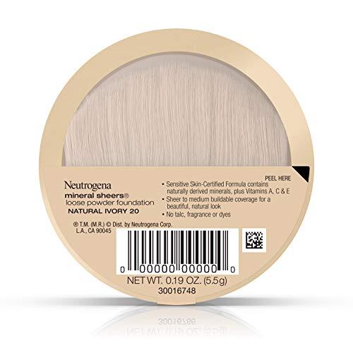 Neutrogena Mineral Sheers Loose Powder Foundation 20, Natural Ivory 20, .19 Oz.
