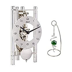 Qwirly 2-Item Bundle: Lakin Mechanical Skeleton Table Clock by Hermle 23025X40721 and Desktop Rotating Spinner - Room Decor Set for Birthday, Holidays and a Great Gift for Any Occasion - Silver/Silver