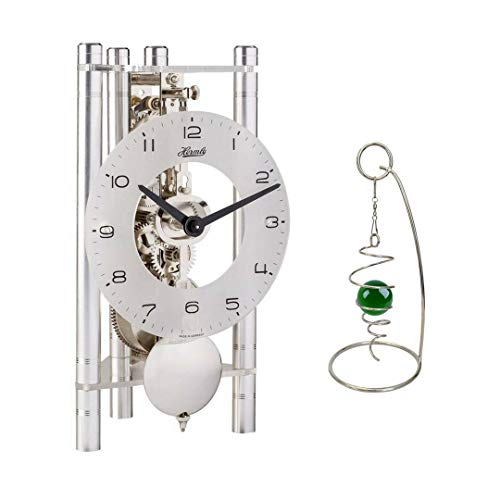 Qwirly 2-Item Bundle: Lakin Mechanical Skeleton Table Clock by Hermle 23025X40721 and Desktop Rotating Spinner - Room Decor Set for Birthday, Holidays and a Great for Any Occasion - Silver/Silver