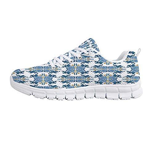 Traditional House Decor Comfortable Sports Shoes,Roman Tile Mosaic Design with Famous Artful Eastern Inspired Image for Men & Boys,US Size 11.5 - Roman Bath Mosaics
