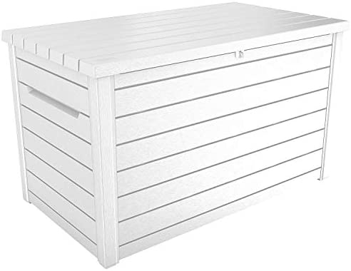 Keter XXL 230 Gallon Deck Storage Box Outdoor Patio Container White