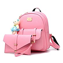 Flada Girl's Sweet PU Leather Casual Backpaack Shoulder Purse Bag 2 Pieces Set