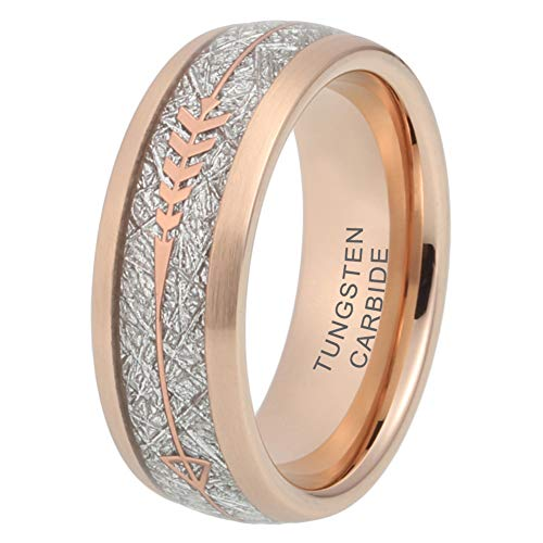 iTungsten 8mm Tungsten Rings for Men Women Wedding Bands Meteorite Arrow Inlay Black/Silver/Gold/Rose Gold Comfort - Rose Large Silver