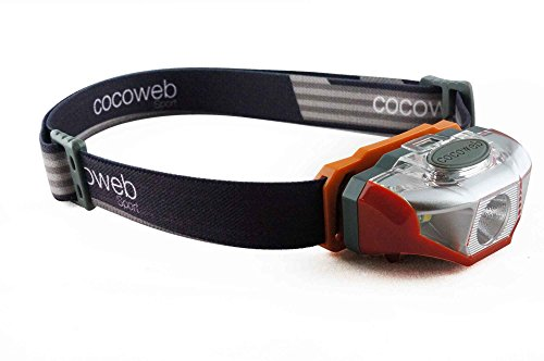Cocoweb SpotEye Ultra Bright LED Headlamp Flashlight LED Headlight - Light & Comfortable with 248% Longer Battery Life! Adjustable White, Red and Strobing Light Ideal for Camping, Running, Hunting, Reading, Construction and more! Water Resistant with batteries included! - Orange