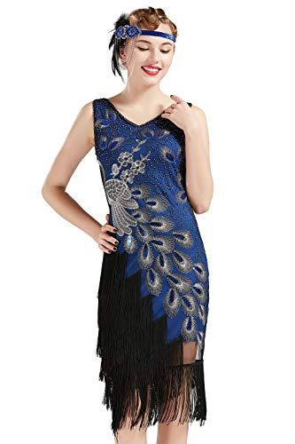 BABEYOND 1920s Vintage Peacock Sequined Dress Gatsby Fringed Flapper Dress Roaring 20s Party Dress (Blue with Black Fringe, X-Large)