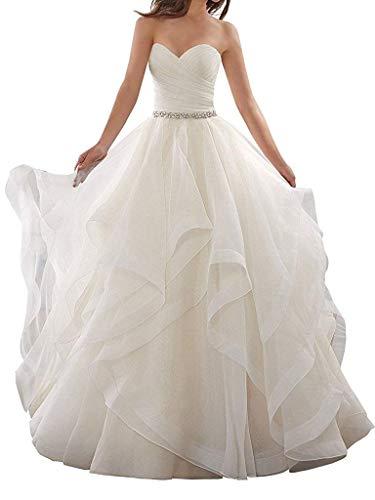 Jingliz Women's Sweetheart Organza Ruffles Wedding Dresses for Bride 2019 Beaded Bridal Gowns White US22W