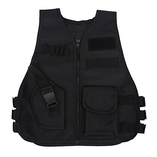 Tbest Youth Tactical Vest,Kids Swat Tactical Vest,Kids Tactical Vest,Combat Vest,Children Tactical Vest Kids Breathable Security Guard Waistcoat CS Field Combat Training Protective Vest Black