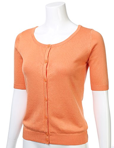 Womens Button Down Fitted Short Sleeve Fine Knit Top Cardigan Sweater LIGHTORANGE L by FLORIA (Image #1)