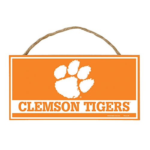 WinCraft NCAA Clemson Tigers Hardboard Wood Signs with Rope, 5 x 10-Inch, - Clemson Sign Wood