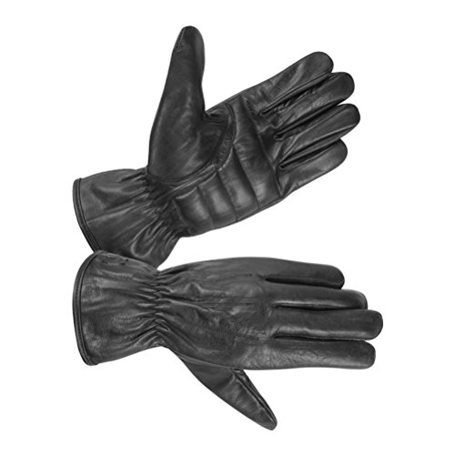 (Men's Unlined Technaline Leather Basic Riding Glove with Padded Palm (Large, Black) )