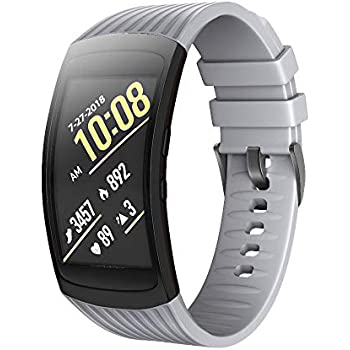 ANCOOL Compatible Samsung Gear Fit2 Pro Band/Gear Fit 2 Bands, Replacement Silicone Smartwatch Bands Compatible Samsung Gear Fit2 Pro (Large, Gray)