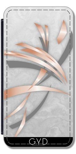 Leder Flip Case Tasche Hülle für Apple Iphone 7 / Iphone 8 - Roségold Grauem Marmor Abstrakt by Nina Baydur