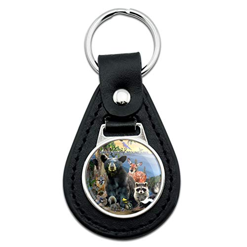 Great Smoky Mountains National Park Animals North Carolina Tennessee Black Leather Keychain