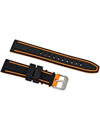 20mm Superior Silicone Straps for Diving Watches Rubber Watch Wristbands in Two Tone Black and Orange