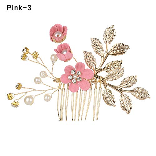 1Pcs Bride Headwear Hair Accessories Handmade Flower Tiaras Headpiece Crown,Imitation Rhodium Plated ()