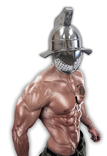 Armor Full Knight Solaire Helmet Crusader Roman Centurion Costumes Chainmail Full Size Coif Armor LARP Medieval Collectibles Medieval Sword Collection (Gladiator Fight) Silver