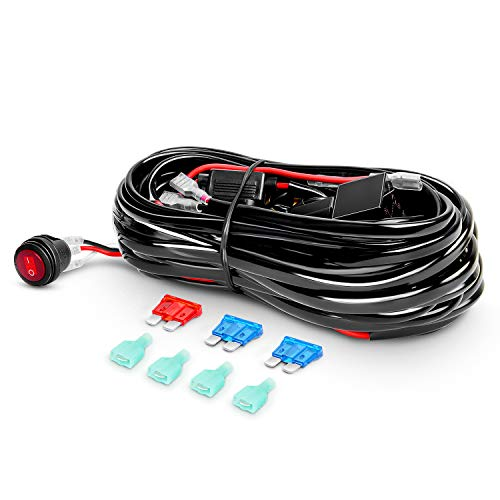Nilight - ZH001 20Inch 126W Spot Flood Combo Led Off Road Led Light Bar 2PCS 18w 4Inch Flood LED Pods With 16AWG Wiring Harness Kit-2 Lead, 2 Years Warranty